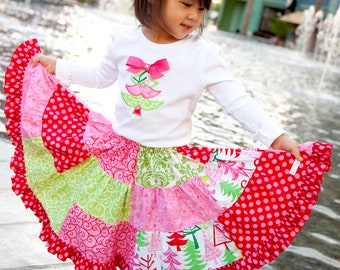 Instant Download- Phoebe Skirt  PDF Ruffle Twirl Skirt Pattern 6/9M-7 Sewing Pattern Tutorial E Book