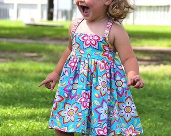 Instant Download - Hailey Halter Dress PDF Pattern 2T-7 Sewing Pattern Tutorial E Book