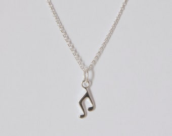 Music note necklace Sterling silver 925