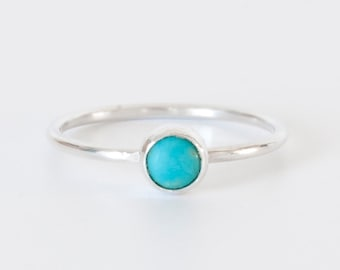 Turquoise stacking ring, sterling silver 925