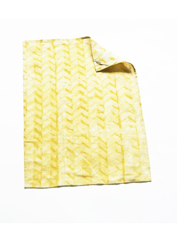 Linen Cloth Napkin Set Maize Gold Geometric Chevron Set of 4 Hand Batik Block Printed