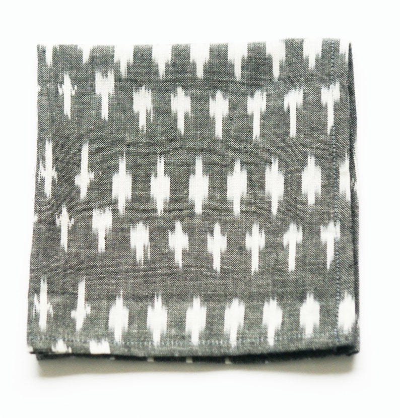 Cloth Napkin Handwoven Ikat Dot Set of 4 Grey Cocktail Napkin