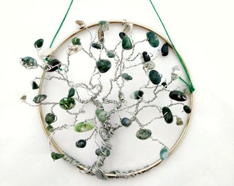 Spring Moss Agate Suncatcher, Tree of Life Hanging, Suncatcher For Windows, Wire Tree, Small Office Decor