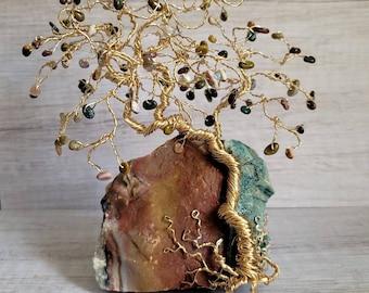 Wire Gem Tree, Jasper Crystals Tree of Life, Yoga Decor, Tree of Life, Natural Gemstone tree, Lucky Tree, Healing Gemstone Tree, Feng Shui