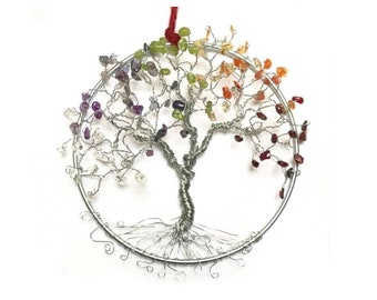 "Chakra Suncatchers for Windows, 5"" Metal Hoop, Cute Decor For Home & Office, Chakra Tree Art, Hippie Gifts, Birthday Gift Her"