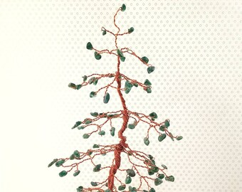Pine Gem Tree, Wire Gemstone Tree, Green Aventurine Gems, Gemstone Tree, Feng Shui Decor, Good Luck Gift, Housewarming Gift