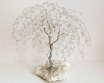 "12"" Wispy Willow Tree with Quartz Gemstones, Diamond Anniversary Gift, Willow Gifts, Large Crystal Tree, April Birthstone, Tree Table Decor"