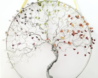 "10"" Chakra Tree Wall Hanging, Tree of Life Art, Chakra Decor, Reiki Gifts, Meditation Room, Studio Decor, Healing Gifts"