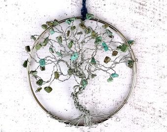 Turquoise Suncatcher, Magnesite Gems, Tree Of Life, Tree Suncatcher, Crystal Suncatcher, December Birthstone