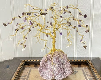 Willow Wire Tree with Charoite & Moonstone Gemstones, Raw Lepidolite Rock Base, Willow Anniversary Tree Gift, Purple Tree of Life