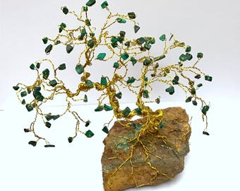 Bonsai Gemstone Tree, Wire Tree Sculpture, Crystal Trees, Jewel Trees, Malachite Gem Tree