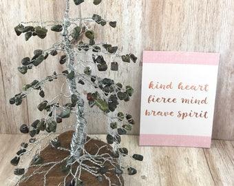 Pine Gem Tree, Dragonblood Jasper, Earth Day Gift, Wire Tree Sculpture, Gemstone Tree, Healing Tree of Life