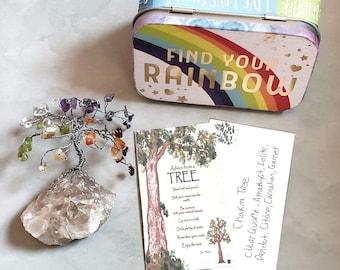 Chakra Gem Tree Tin, Healing Gemstones, Meditation Altar, Chakra Decor, Reiki Gift, Yoga Gift, Spiritual Crystal Decor, Find Your Rainbow