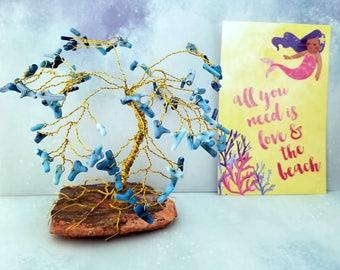 Palm Gem Tree, Wire Tree Sculpture, Coral Decor, Beach Decor, Gemstone Trees