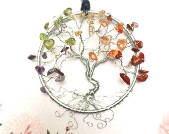 Rainbow Suncatcher, Small Chakra Suncatcher, Yoga Decor, Boho Decor, Reiki Gifts, Wire Art, Tree Art