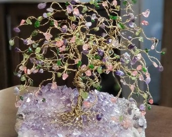 Custom Family Wire Gem Trees, Tree of Life Art, Crystal Trees, Birthstone Trees for Anniversary Birthday Gifts, Spiritual Healing