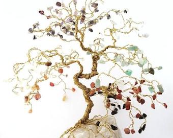 Wire Bonsai Tree, Chakra Tree, Custom Order, Reiki Gift, Chakra Art, Tree of Life, Yoga Decor, Chakra Healing, Healing Crystals, Meditation