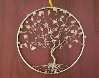 Sparkly Suncatcher, Moonstone Gems, Tree of Life Art, Window Suncatcher, Crystal Suncatcher, Yoga Gifts