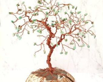 Chrysoprase Gem Tree, Wire Tree Sculpture, Crystal Trees, Spiritual Gifts, Large Gemstone Tree