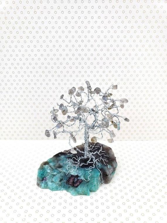 Labradorite Gemstone Tree Beaded Tree Of Life Positive Etsy