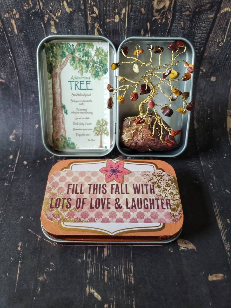 Mini Zen Trees Gem Tree Tins Autumn Tree Decor Fall Gifts image 6
