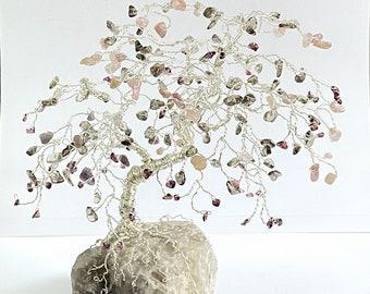 Stone of Love Tree, Strawberry Quartz Bonsai Tree, Chakra Healing Gemstone Tree, Wire Sculpture Tree, EMF Activation, Rose Quartz Gift