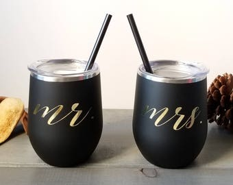 Stainless Steel, Wife Gift, Husband Gift, Newlyweds, Steel Tumbler,Bridal Party Tumbler, wine glass,Bridal wine cup, Bridesmaid Tumbler