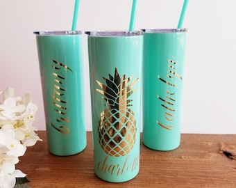 Pineapple Tumbler, 20oz gift for Her, Custom Gift Personalized Skinny Stainless Steel Cup, Monogram Pineapple Cup, Custom Pineapple Gifts