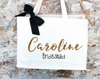 1 Bridesmaid Tote. Bridesmaid Bag. Personalized Tote. Personalized Name Tote. Wedding Day Tote. Bridal Tote. Bride Bag.