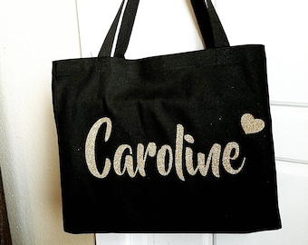 76423d3133fcf Personalized black Tote Bag