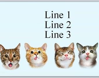 30 Custom Cute White Kitten Thank You Personalized Address Labels
