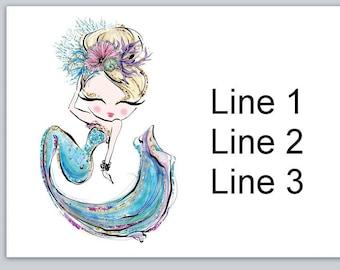 30 Custom Purple Mermaid Personalized Address Labels
