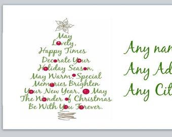 30 Custom Modern Christmas Tree Personalized Address Labels