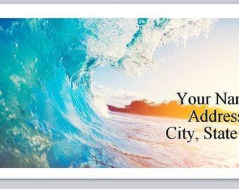 30 Personal Return Address Labels Swirling Waves Island in background (p 256)