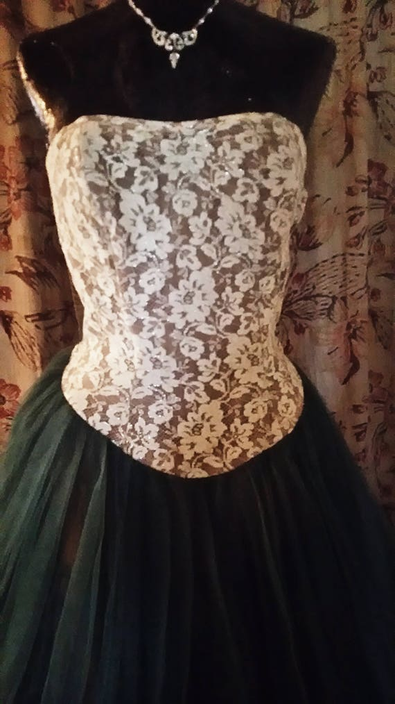Full Length Lace & Tulle Ball Gown 1958