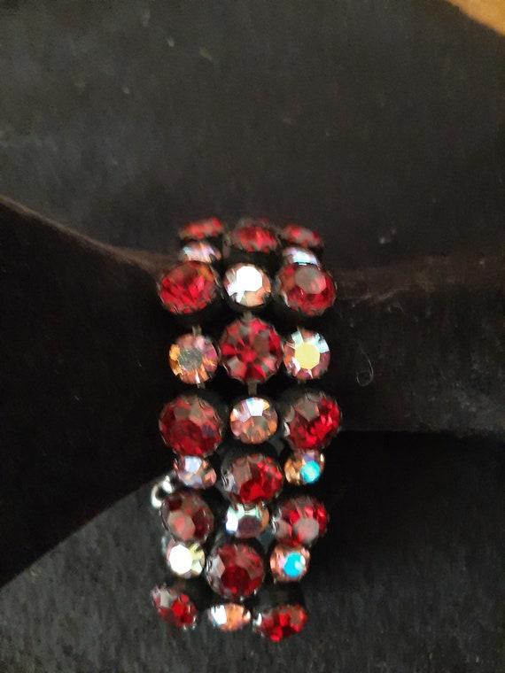1950's Dark Red &  Radiant Pink Rhinestone Bracele