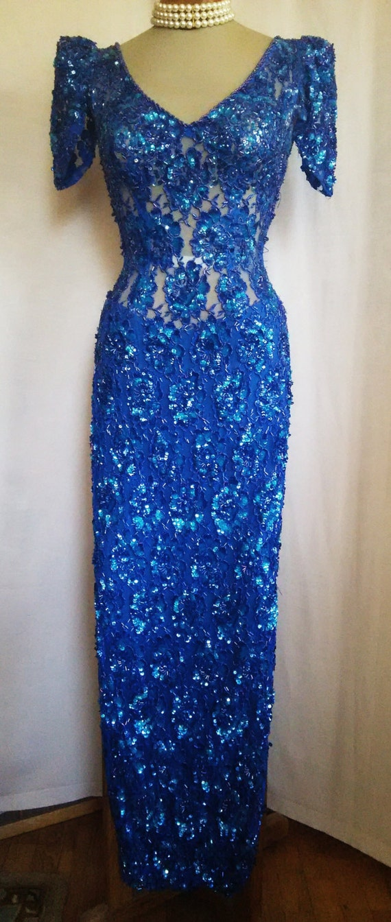 Sheer Beaded & Sequined  Evening Gown S