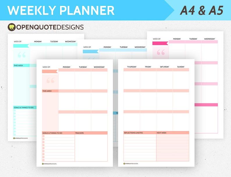 Pagina Calendario Settimanale.Filofax A5 Inserti Inserti A5 Planner Pagine Planner Settimanale A5 Inserti Filofax A5 Kikki K Grande Abitudine Tracker Calendario Settimanale