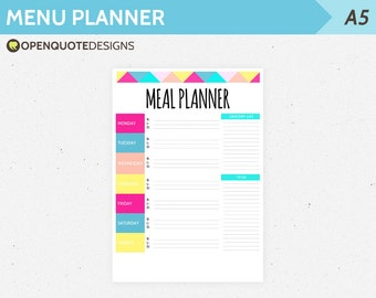 A5 Filofax Printable Meal Planner, Weekly Menu Planner, Printable Filofax Planner, A5 Filofax Insert