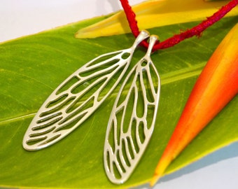 Extra Large Cicada Wings in Sterling Silver - Wing Jewellery - Insect Jewelry - Boho Necklace