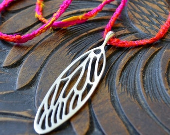 Large Cicada Wing in Sterling Silver - Cicada Necklace - Insect Jewelry