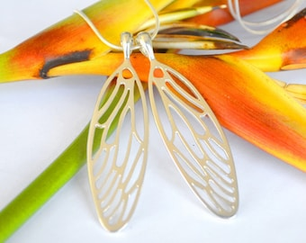 Large Cicada Wings in Sterling Silver - Wing Jewellery - Insect Jewelry - Insect Wing Necklace