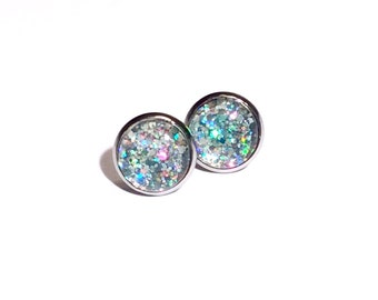 Holographic Glitter Stud Earrings // Glitterbomb sparkly prismatic earrings, surgical steel posts, tarnish resistant