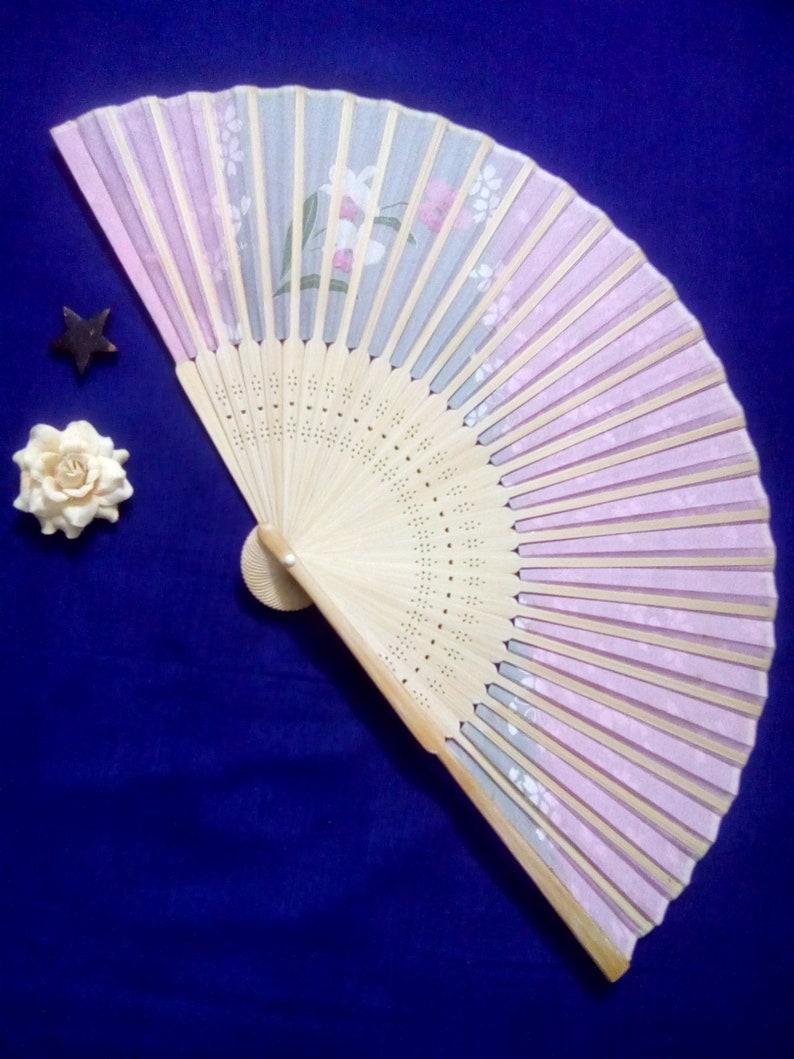 Vintage japanese fan hand fan original Japan handpainted flowers golden waves silk wood folding fan pink white silver gold  sakura flowers