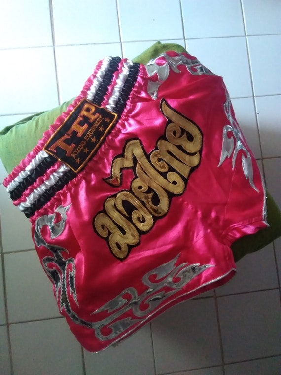 vintage muay thai shorts boxing shorts pink fucsia