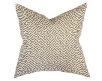 """Greek Key Pillow- Neutral, Tan, Beige Geometric Designer Pillow Cover- Accent Pillow- Throw Pillow- Holds 22"""" Insert"""