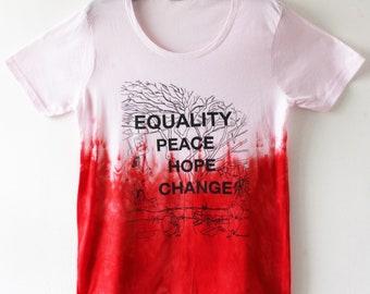Women's dip dyed t shirt with screen print 2XL