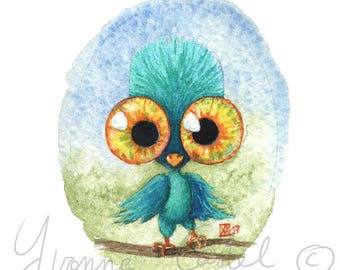 Watercolor of a bird with huge eyes - cute monster 5