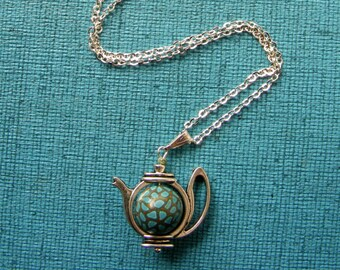 Hungarian Embroidery floral teapot necklace with handmade polymer clay bead