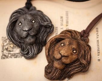 Dark Lion Necklace, Sculpture pendant, Sculpture necklace, Lion Head Jewelry, Lion Head Pendant, Animal Sculpture, Original Christmas gift